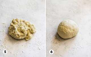 Etapa 5 e 6, mostrando a massa de tortilla de farinha em uma superfície de trabalho enfarinhada.