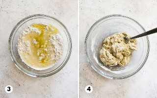Passo 3 e 4 sobre como fazer tortilhas de farinha a partir do zero.