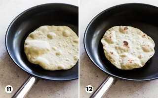 As etapas 11 e 12 mostram como cozinhar tortillas de farinha em uma frigideira antiaderente.
