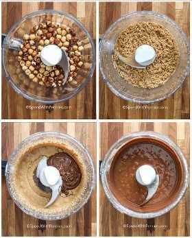 Las diferentes etapas del procesamiento de avellanas para hacer nutella casera.