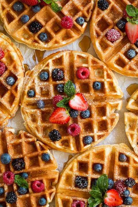 De cerca la imagen de waffles belgas.