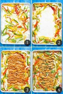 Cuatro imágenes que muestran cómo hacer fajitas de pollo que se hornean en una bandeja con verduras.