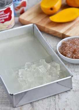 Bandeja de gelatina transparente con mangos en rodajas, perlas de tapioca y latas de leche condensada y crema de mesa en el lateral.