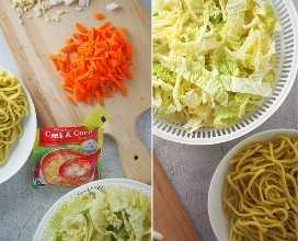 fideos lomi, napa picada, zanahorias en juliana y paquete de sopa de cangrejo y maíz