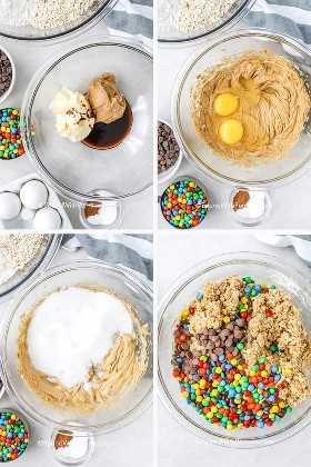 Cuatro imágenes que muestran los pasos para preparar galletas monstruo.