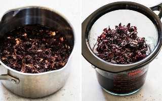 Se secan las flores de hibisco en una maceta y luego se filtran para hacer una bebida de jamaica.