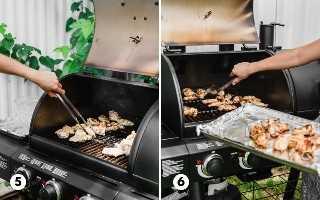 Asas de frango em uma grelha Char-Griller que é virada e grelhada.