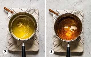 Uma pequena panela cheia de manteiga, alho, páprica defumada e queijo parmesão ralado.