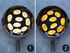 Duas imagens mostrando como cozinhar e fritar bananas em uma frigideira de ferro fundido.