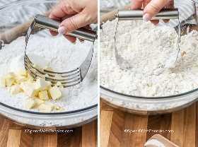 Dos imágenes que muestran la mantequilla cortada en harina.