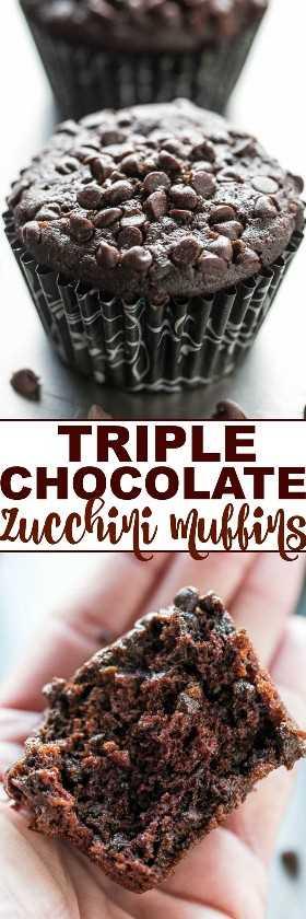Triple Chocolate Zucchini Muffins - ¡SIN lácteos o mantequilla y solo 1/4 taza de aceite en todo el lote! Prométeme que NO PUEDES probar el calabacín, ¡pero mantiene los muffins tan suaves y húmedos! ¡Te encantan las verduras extra con mucho CHOCOLATE!