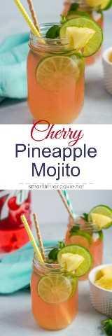 Cherry Pineapple Mojito ~ Un cóctel divertido y refrescante hecho con limas, jugo de piña, ron, hojas de menta y 7UP® Cherry. # ad # MixItUpaLittle