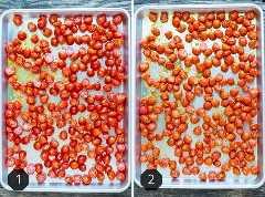 Una imagen de antes y después de tomates cherry asados al horno en una bandeja para hornear.