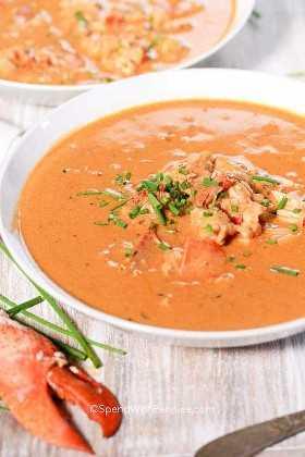 Sopa de langosta en un bol blanco y adornada con cebollino.