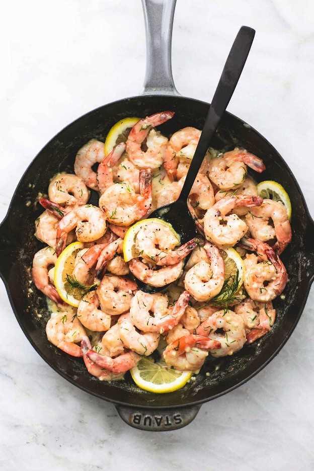 Receta cremosa de camarones con eneldo y limón | lecremedelacrumb.com