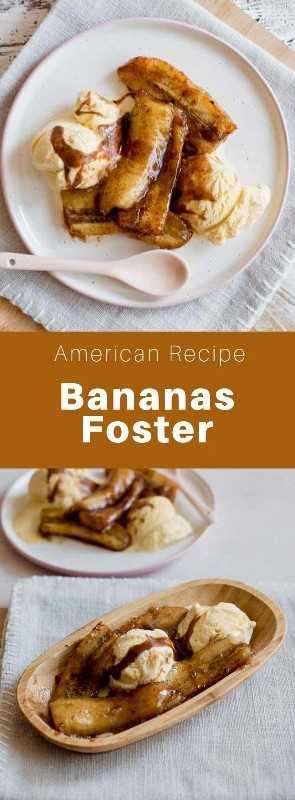 Bananas Foster es un postre de Nueva Orleans hecho de bananas flambeadas con licor de plátano y ron, y se sirve con helado de vainilla. #SouthernFood #SouthernRecipe #SouthernCuisine #AmericanRecipe #AmericanFood #AmericanCuisine #WorldCuisine # 196flavors