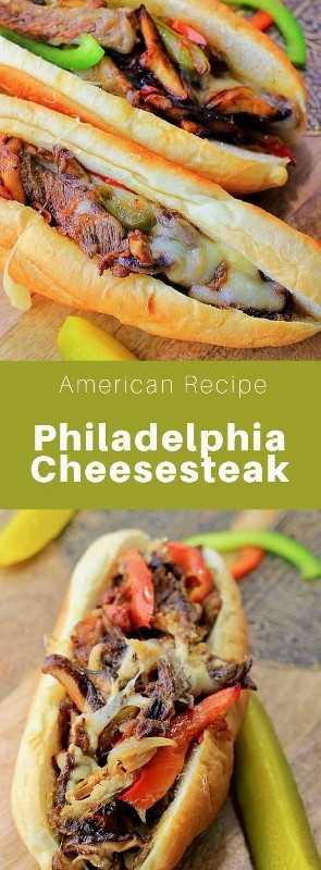 La cheesesteak de Filadelfia, o Philly cheesesteak, es un sándwich típico de carne y queso de la ciudad de Filadelfia, que a veces incluye cebolla, pimientos y champiñones. #AmericanRecipe #AmericanFood #AmericanCuisine #WorldCuisine # 196flavors