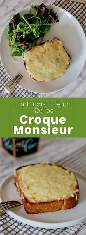 Un croque-monsieur es un típico sándwich francés tostado compuesto de dos rebanadas de pan rellenas con jamón, queso y salsa bechamel. #French #FrenchRecipe #FrenchCuisine #WorldCuisine # 196flavors
