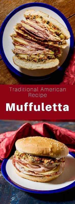 Una muffuletta es tanto un pan de sésamo redondo siciliano como un sándwich popular de inmigrantes italianos en Nueva Orleans, Louisiana, que usan el mismo pan. #SouthernFood #SouthernRecipe #SouthernCuisine #AmericanRecipe #AmericanFood #AmericanCuisine #WorldCuisine # 196flavors