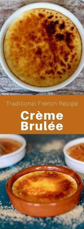 Crème brûlée es un postre tradicional francés con una corteza crujiente caramelizada compuesta de yemas de huevo, leche, crema espesa, azúcar y vainilla. #Francés #FrancésPostra #FrancésCocina #FrancésReceta #FrancésComida #MundoCurtina # 196flavores