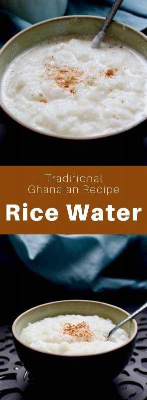 El agua de arroz es un postre tradicional de Ghana que consiste en una papilla de arroz con nuez moscada, pero también otros ingredientes para degustar. #Ghana #GhanaianCuisine #GhanaianFood #GhanaianRecipe #AfricanCuisine #AfricanFood #AfricanRecipe #WorldCuisine # 196flavors