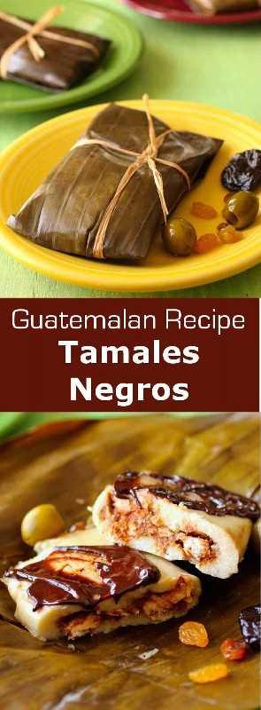 Los tamales negros son tamales envueltos en hojas de plátano con salsa de mole, tradicionalmente preparados para la Navidad en Guatemala. #guatemala #latincuisine # 196flavors