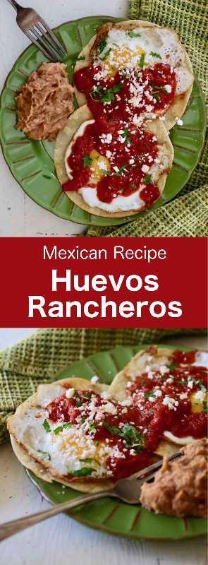 Los huevos rancheros o huevos estilo rancho son una verdadera institución mexicana y una comida completa con huevos y tomates que se sirve principalmente en el desayuno. #Mexican #MexicanFood #MexicanCuisine #MexicanRecipe #MexicanBreakfast #MexicanEggs #WorldCuisine # 196flavors