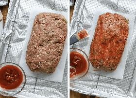 Pasos para hacer un pastel de carne envuelto en tocino, que incluye dar forma al pan en un estante de alambre y cepillarlo con salsa