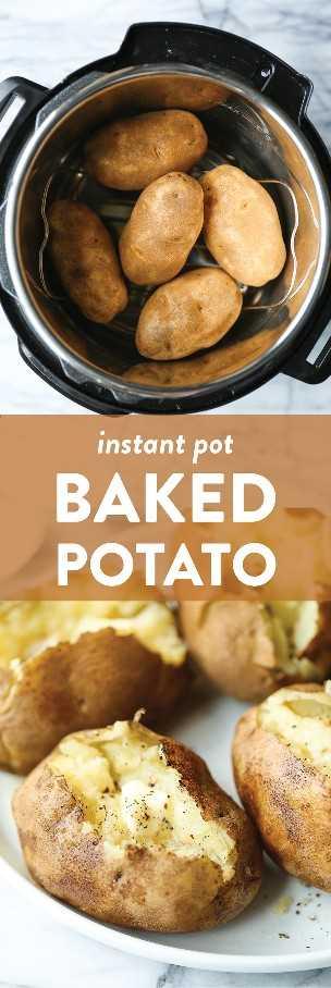 Instant Pot Baked Potato - ¡La manera más infalible de hacer papas al horno! Con un interior suave y esponjosa, con una piel súper dorada y crujiente en solo la mitad del tiempo.