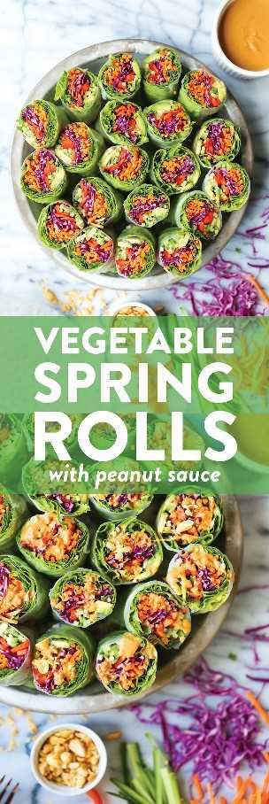 Rollitos de primavera vegetales con salsa de maní - Sencillo, saludable y fresco con la salsa de maní más cremosa de la historia. ¡Prepárate con anticipación y usa las verduras persistentes!