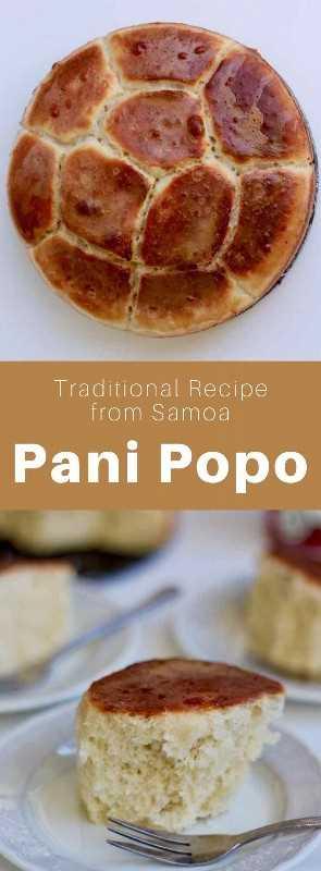El pani popo es un rollo tradicional de brioche de Samoa que tiene la particularidad de cocinar en una inmersión de salsa dulce hecha de leche de coco. #Samoa #SamoanFood #SamoanCuisine #SamoanRecipe #WorldCuisine # 196flavors