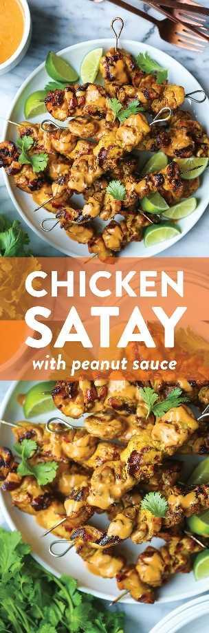 Satay de pollo con salsa de maní - Brochetas de satay de pollo perfectamente asadas en el adobo más sabroso. Servido con la mejor salsa cremosa de maní jamás !!!