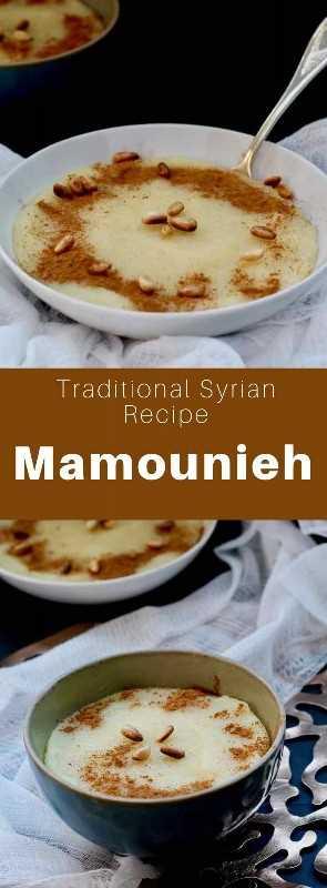 Mamounia (o mamounieh) es un delicioso pudín de sémola preparado con sémola tostada, mantequilla y jarabe de azúcar que es el desayuno favorito en Siria. #Syria #SyrianCuisine #SyrianRecipe #SyrianFood #MiddleEasternCuisine #MiddleEasternRecipe #MiddleEasternFood #ArabCuisine #ArabRecipe #ArabFood #WorldCuisine # 196flavors