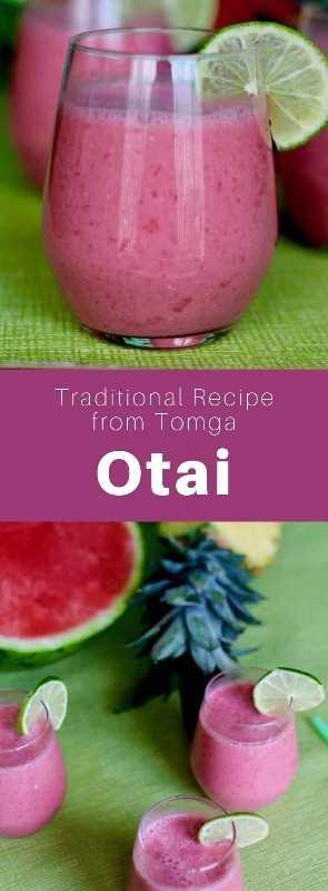 Otai es una bebida de frutas de la Polinesia Occidental, hecha de una mezcla de agua, coco y una variedad de frutas tropicales, especialmente sandía mezclada con piña. #Tonga #Polynesia #PolynesianDrink #WorldCuisine # 196flavors