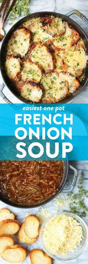 Sopa de cebolla francesa One Pot - ¡Una versión sin complicaciones! ¡No transferir a los moldes, nada! Convierta todo en un ONE POT WONER y sirva. Tan fácil. ¡TAN BUENO!