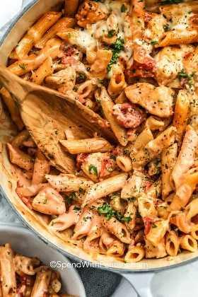 Ciérrese para arriba de las pastas del pollo de una olla.