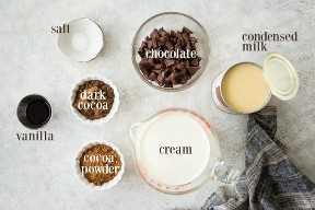 Ingredientes para hacer helado de chocolate, con etiquetas de texto.