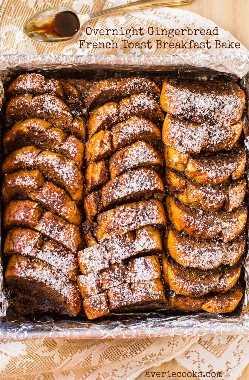 Desayuno nocturno con tostadas francesas y pan de jengibre: ¡tostadas francesas fáciles de preparar que son perfectas para los fines de semana de invierno o la mañana de Navidad! Receta fácil, sin necesidad de voltear en averiecooks.com