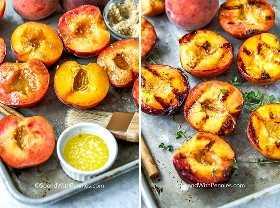 Dos imágenes que muestran los duraznos con mantequilla y azúcar morena antes de asarlos y enfriarlos en una bandeja después de asarlos.
