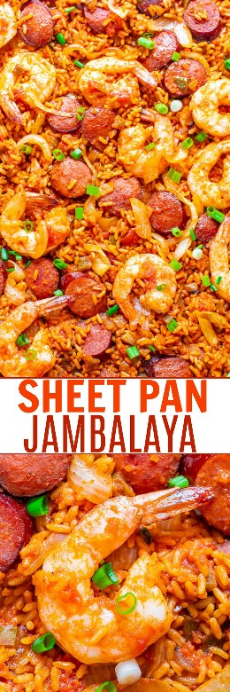 Sheet Pan Jambalaya - The EASIEST and BEST jambalaya recipe you have ever tried and is ready in 20 minutes! Juicy sausages and shrimp with soft rice and the PERFECT amount of kick will keep you coming back for more!