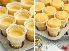 Dos imágenes que muestran una bandeja de muffins llena de cupcakes de cono de helado antes y después de hornear.