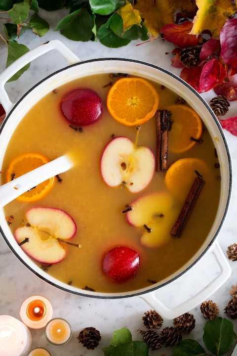 Ponche de otoño Wassail Warm Apple Cider