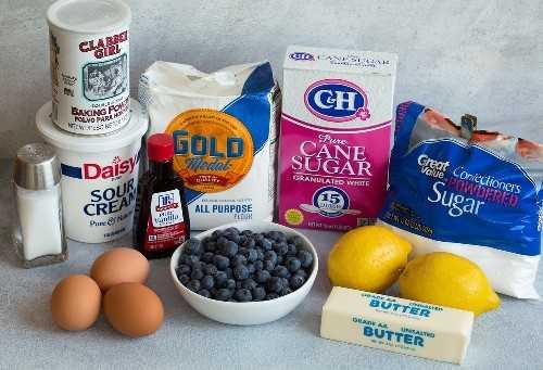 Ingredientes de pan de limón y arándanos