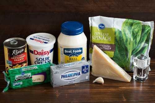 Espinacas Alcachofa Dip ingredientes necesarios.
