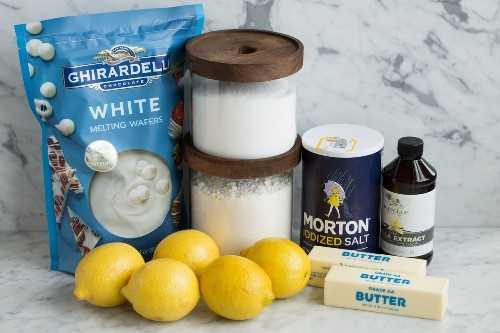 Ingredientes para galletas de mantequilla de limón