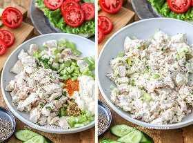 Ingredientes para una receta clásica de ensalada de pollo en un tazón que incluye pollo, apio, cebolla y mayonesa.