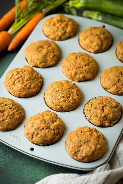 Muffins con calabacín zanahorias y especias