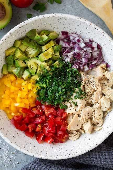 La mezcla de ensalada de atún y aguacate se muestra aquí. Atún, aguacate, cebolla roja, pimiento amarillo, tomate, perejil, sal, pimienta, aceite de oliva.