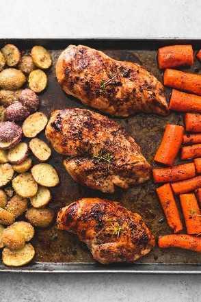 Folha de frango balsâmico com batatas e cenouras