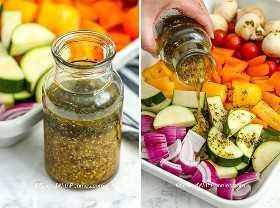 Dos imágenes que muestran adobo antes y después de ser vertido sobre verduras.